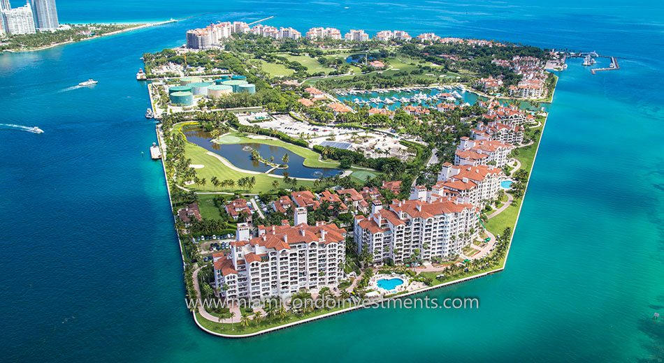 aerial of Bayview condos on Fisher Island