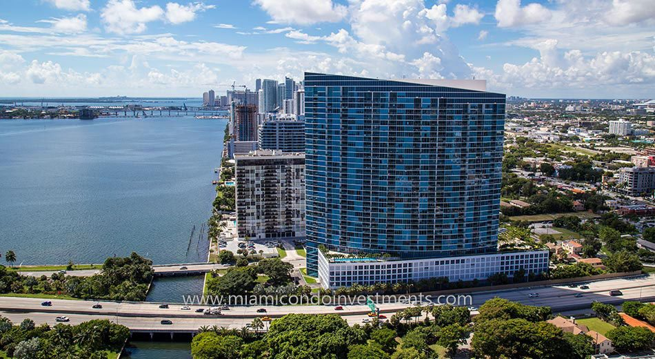 aerial of Blue Condominium in Miami Florida