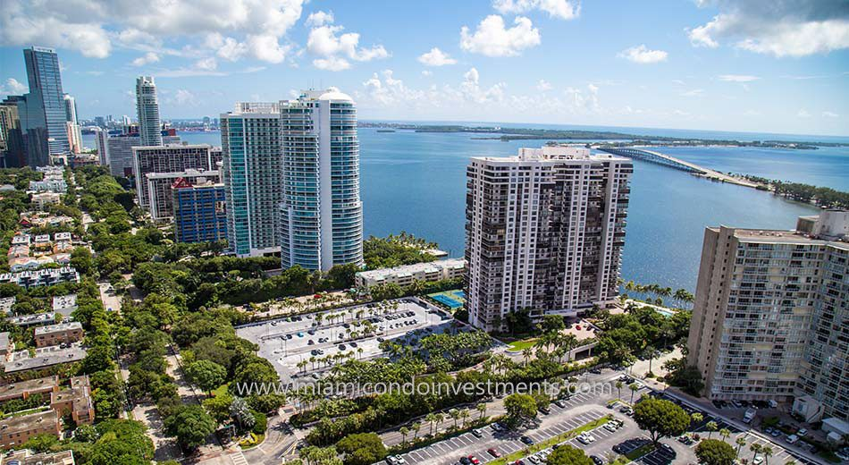 aerial photo of Brickell Bay Club in Miami Florida