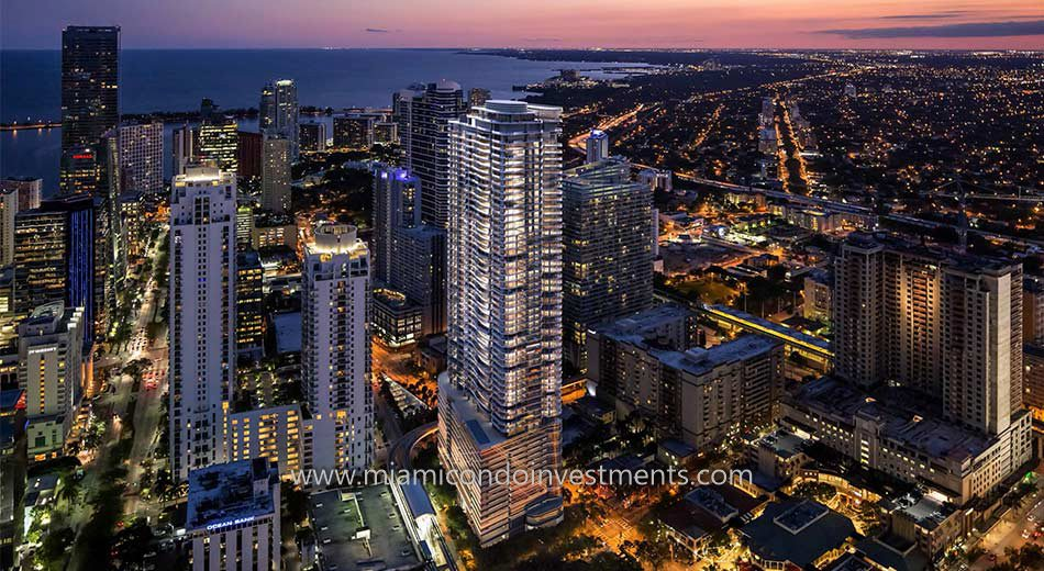 aerial view of Brickell Flatiron in Miami Florida