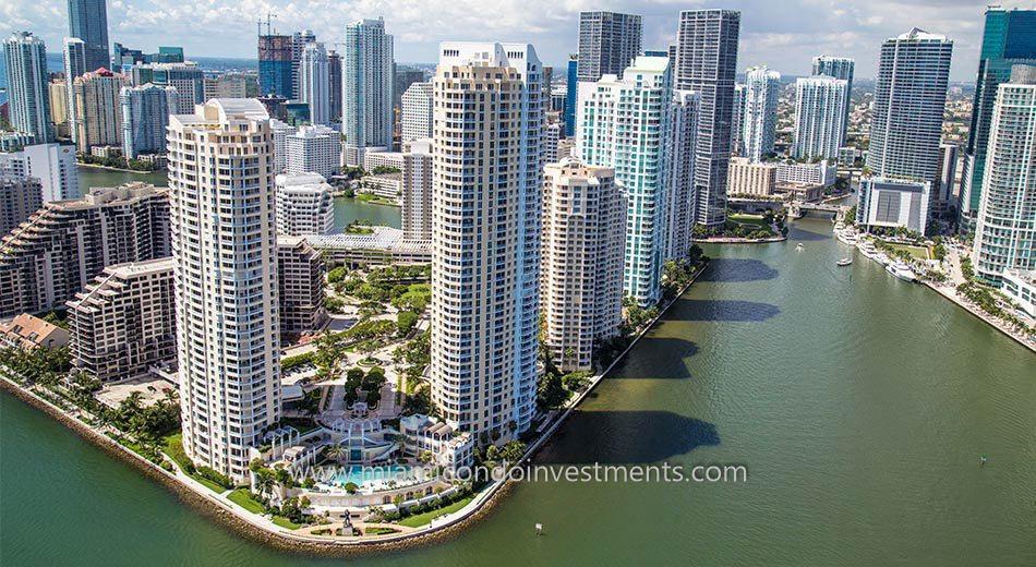 Brickell Key condos Miami aerial view