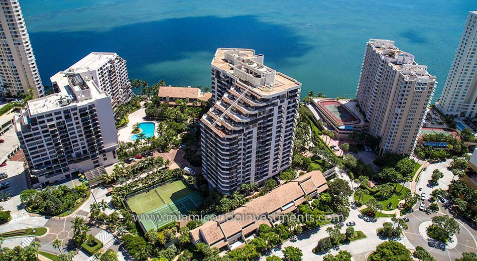aerial view of Brickell Key One