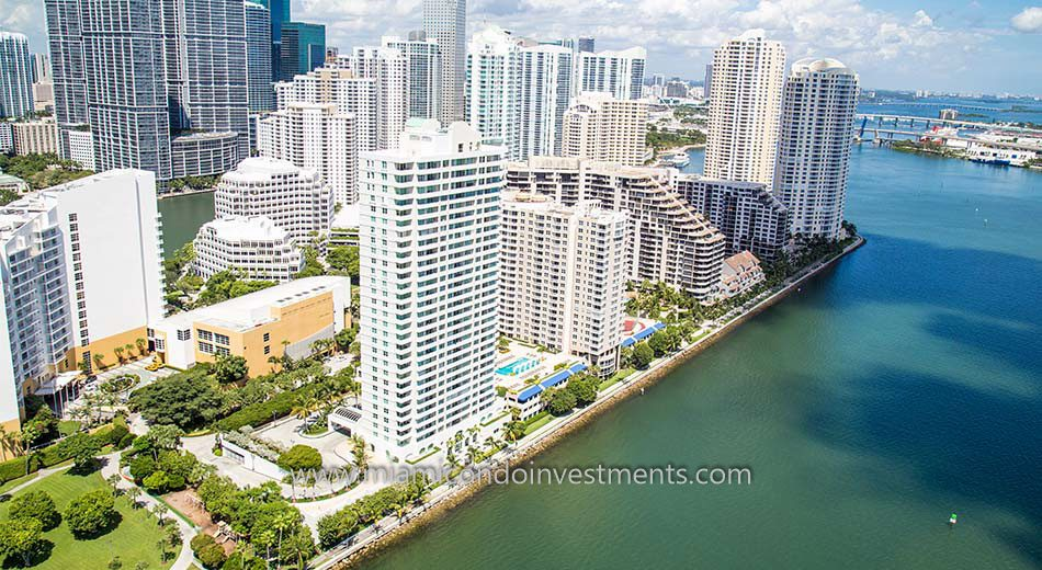 aerial photo showing Brickell Key One