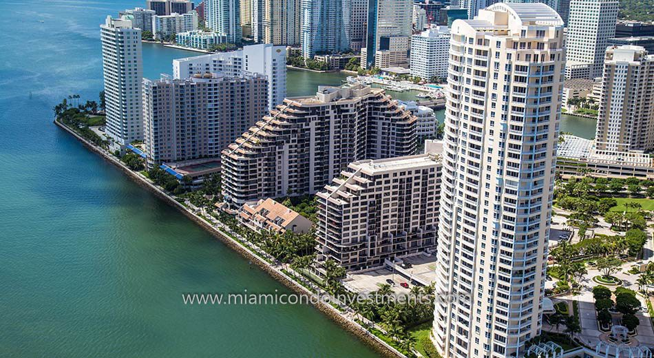 aerial photo showing Brickell Key Two