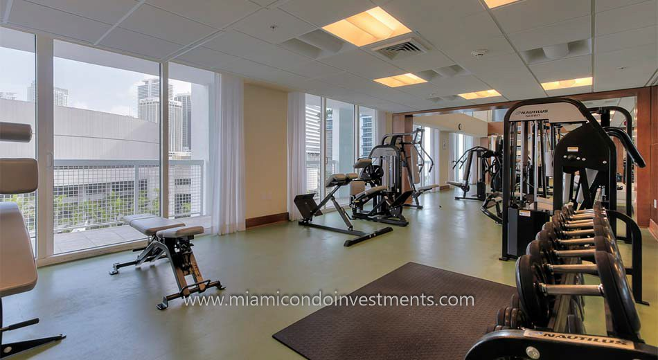 fitness center at Brickell on the River North condominiums