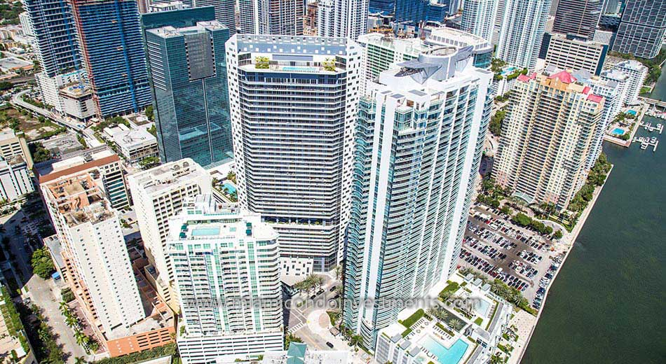 aerial showing the rooftop pool at BrickellHouse