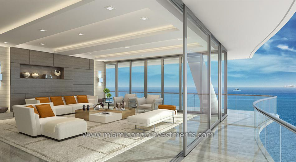 living room and views from Fendi Chateau in Surfside