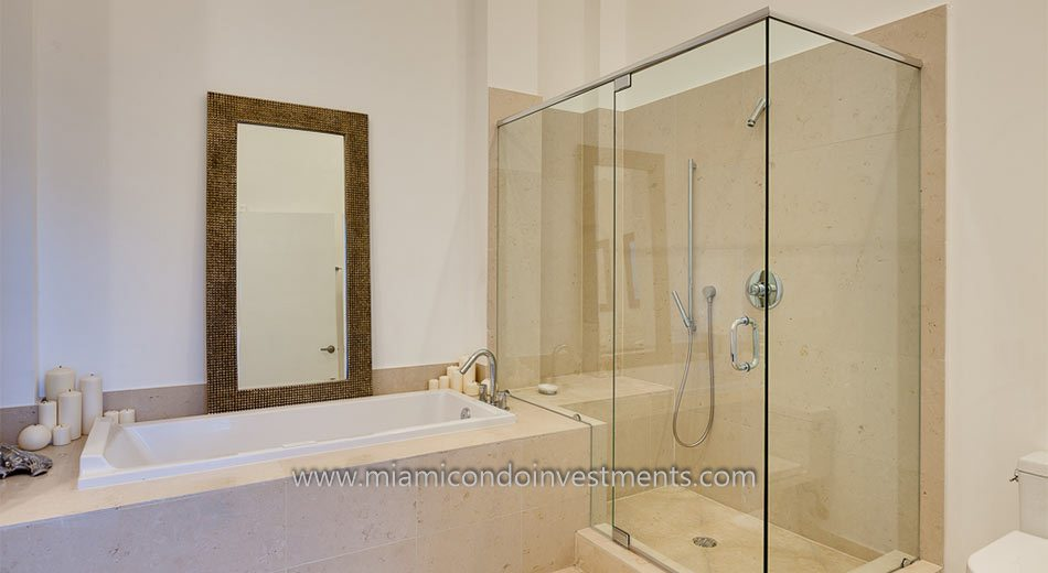 glass enclosed shower luxury condo