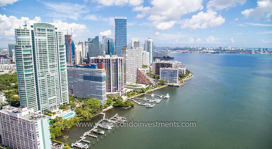 Miami condos on the bay