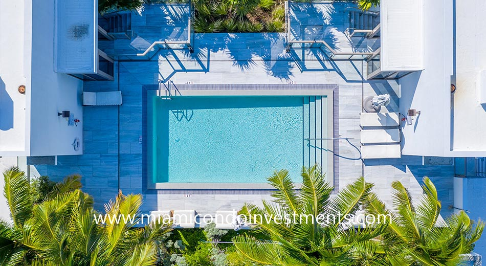 aerial view of the Louver House pool