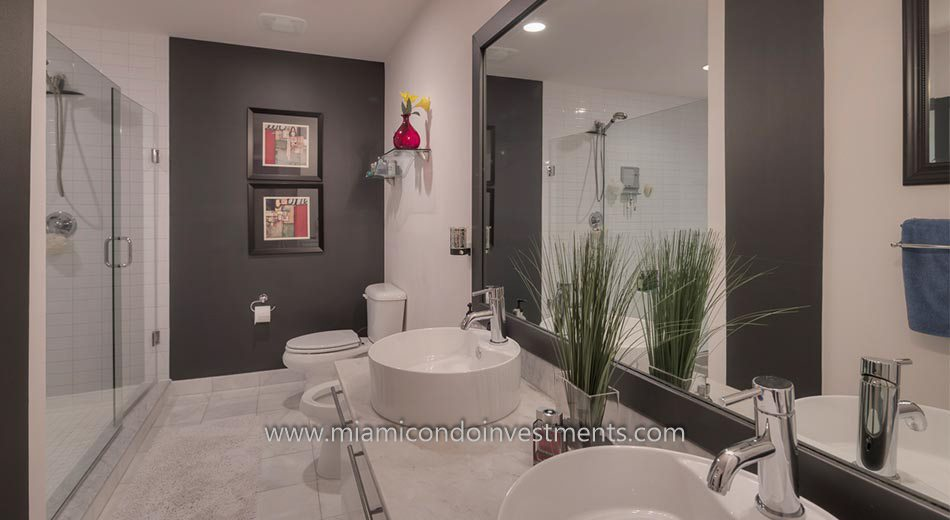 master bathroom at Marina Blue condos