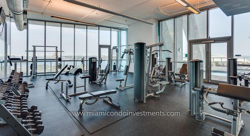 fitness center at Marinablue condos
