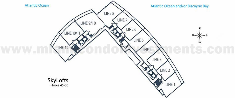 Marina Blue skylofts key plan floors 45-50