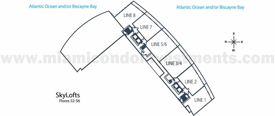 Marina Blue skylofts key plan floors 52-56