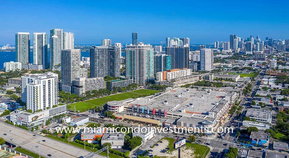 Midtown Miami condos aerial view
