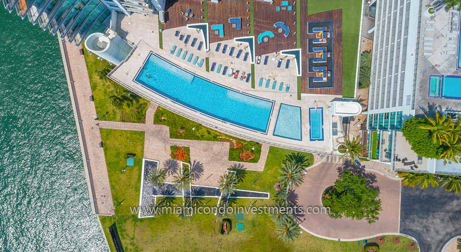 aerial photo of Mint at Riverfront condos pool deck