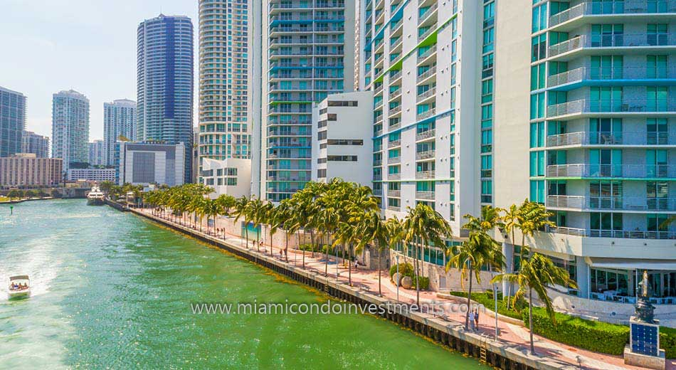 One Miami west condos along the Miami River