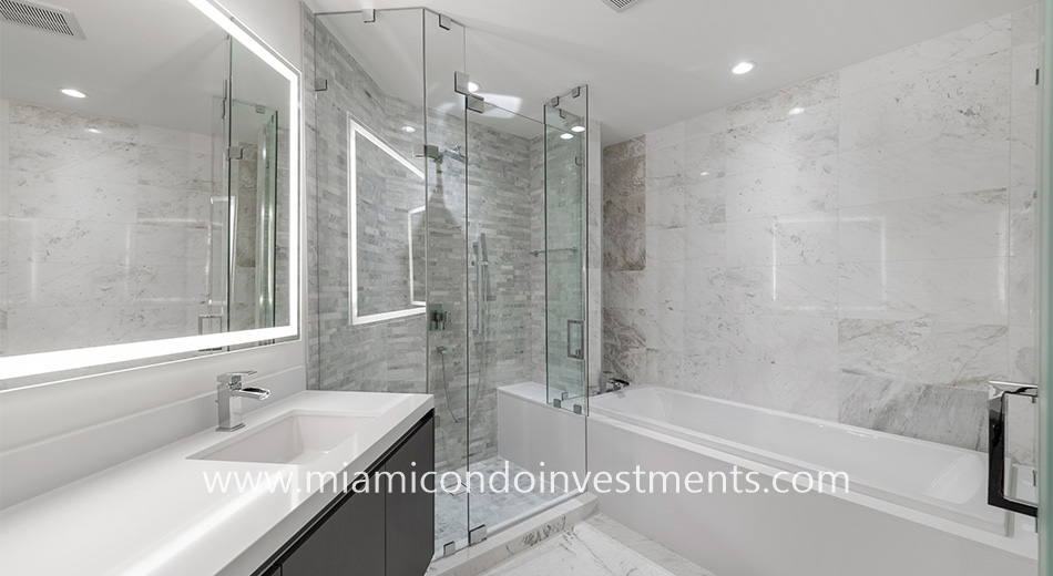 master bathroom at Paramount Miami