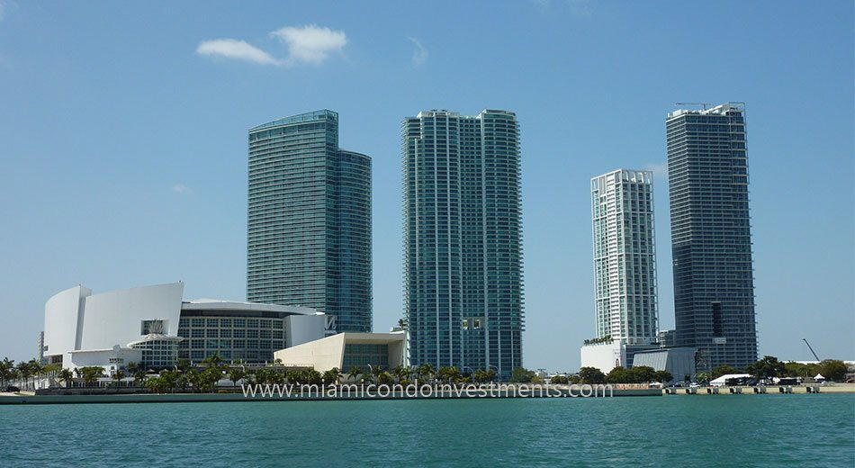 view of Park West condos from Biscayne Bay