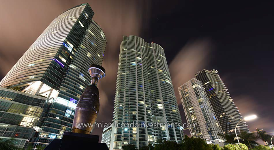 Park West Miami condos at night