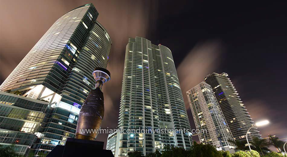 Park West Miami condos at night