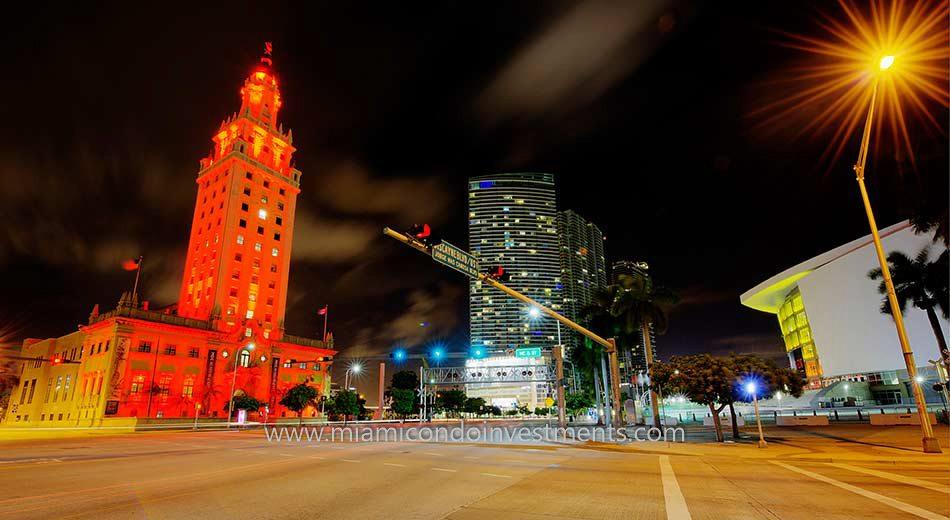 Park West Miami at night