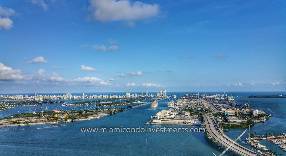 views from Park West Miami condos