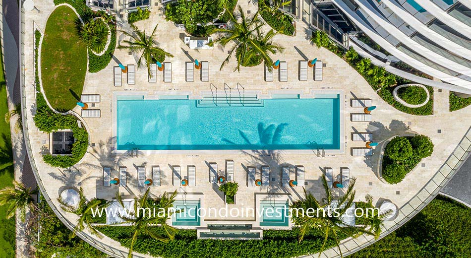 aerial view of the sunset pool deck at Ritz-Carlton Sunny Isles