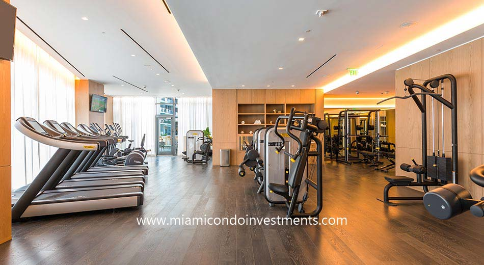 fitness center at SLS Lux condos