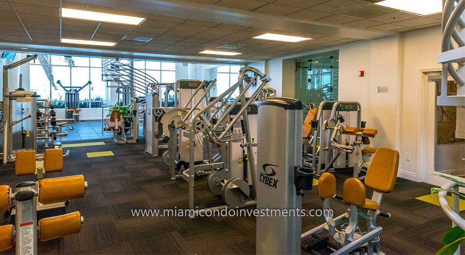 fitness center at Three Tequesta Point