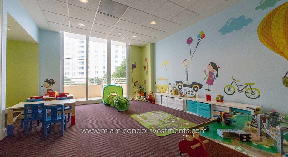 children's playroom at Two Tequesta Point condos