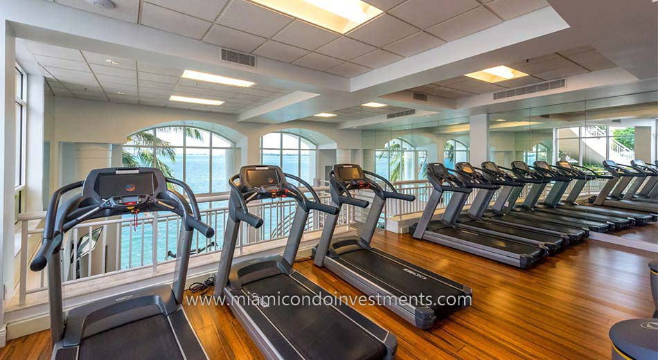 cardio room at Two Tequesta Point condos