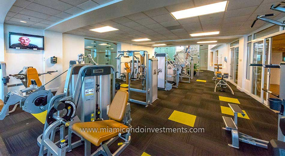 fitness center and racquetball courts at Two Tequesta Point condos