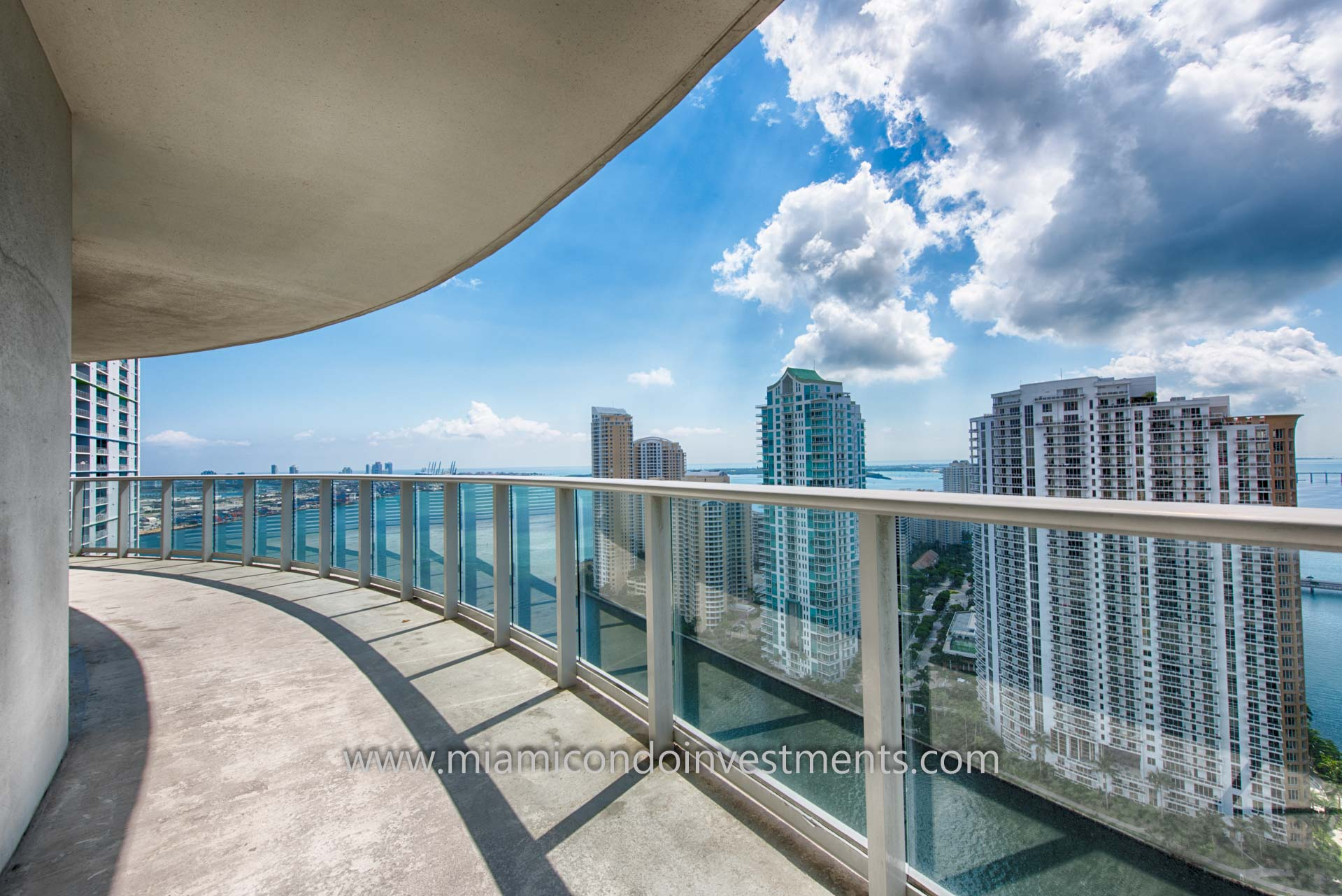 views of the Miami River, Brickell Key, and Biscayne Bay from balcony