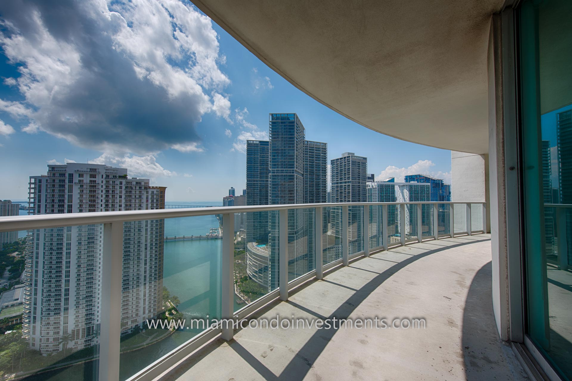 views of the Miami River, Brickell, Brickell Key, and Biscayne Bay from the balcony
