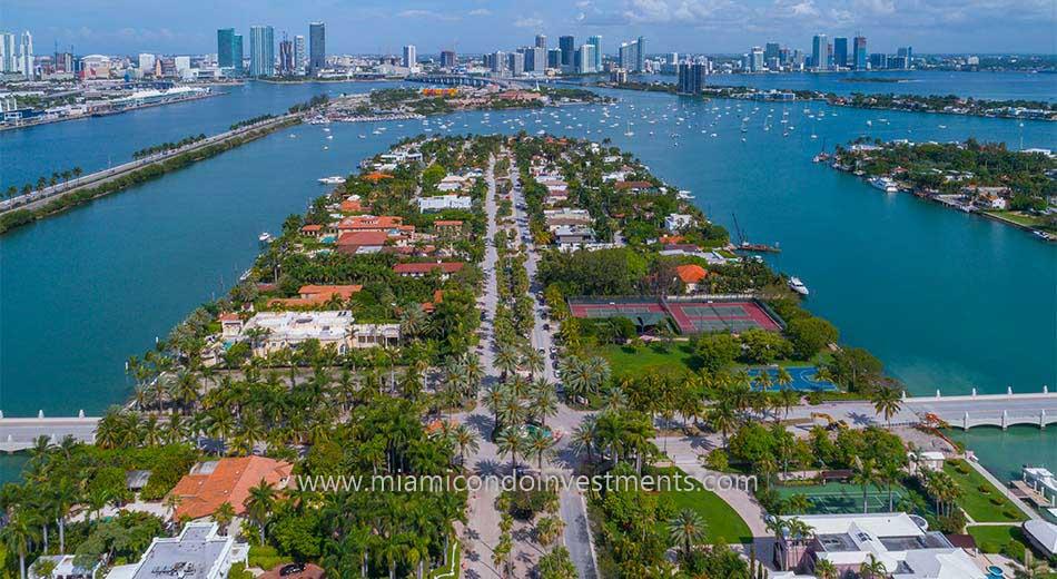 aerial view of Palm Island Miami Beach