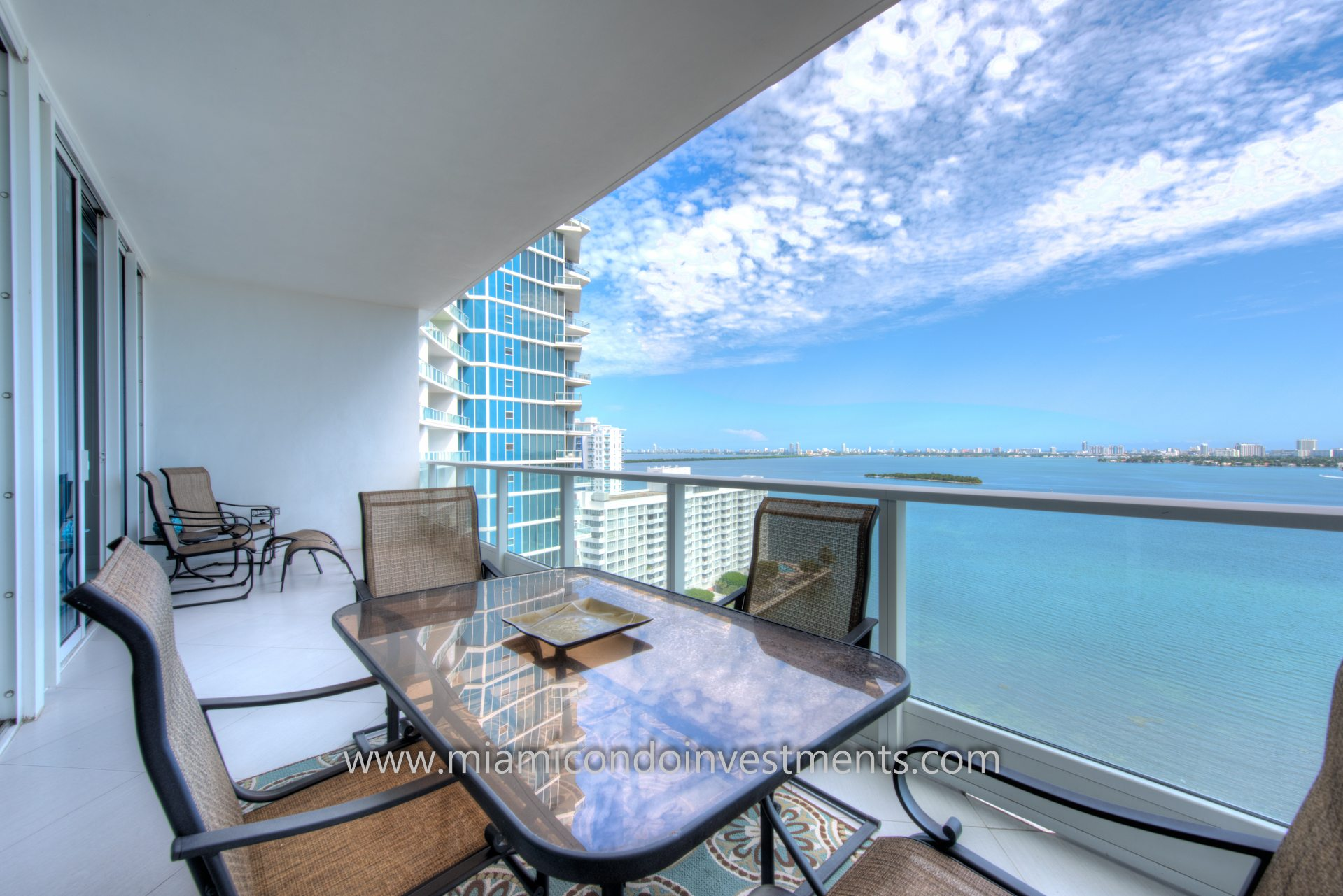 8-foot deep terrace with direct water view