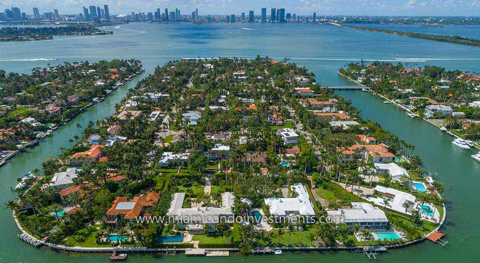Sunset Island homes in Miami Beach