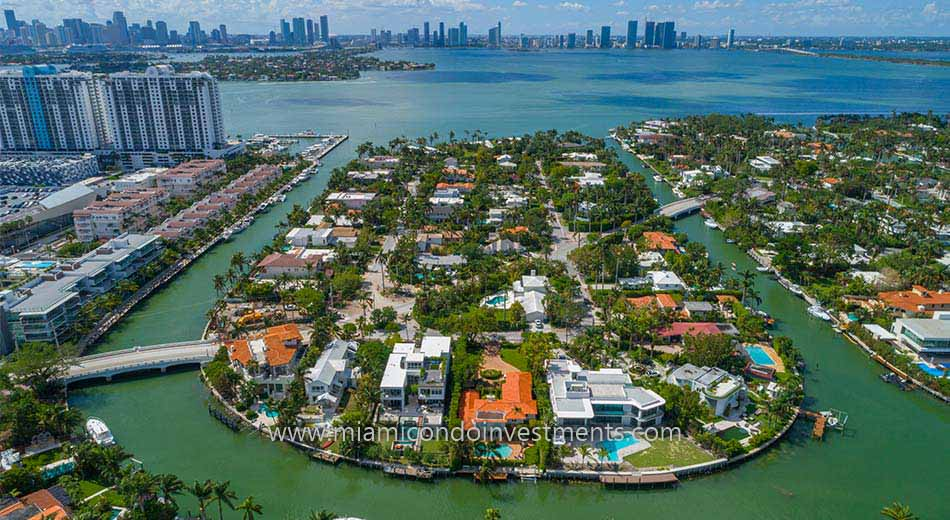 waterfront homes on Sunset Islands in Miami Beach