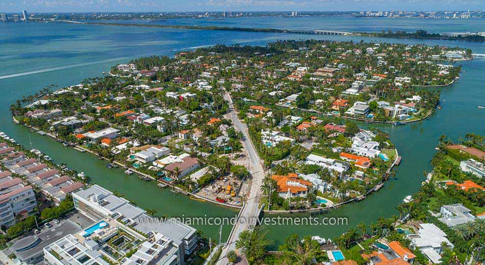 aerial view of Sunset Islands in Miami Beach
