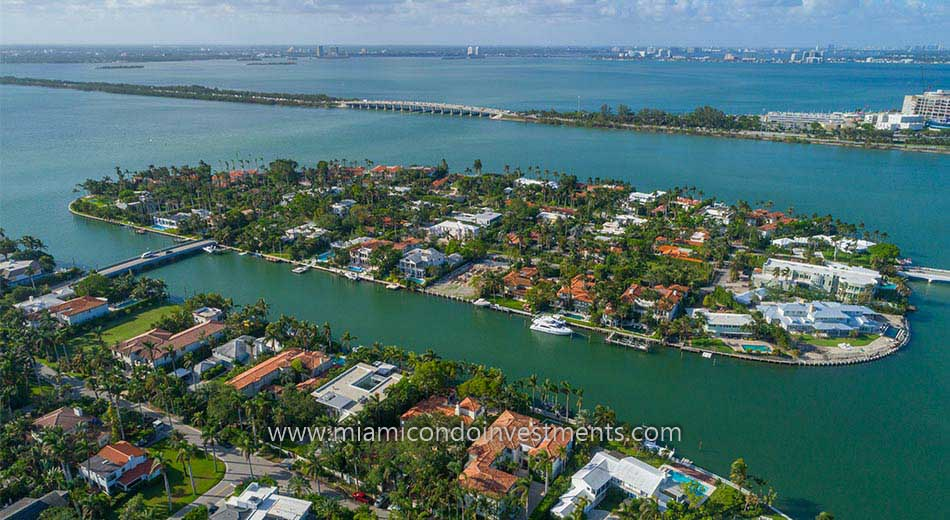 waterfront estates on Sunset Islands in Miami Beach