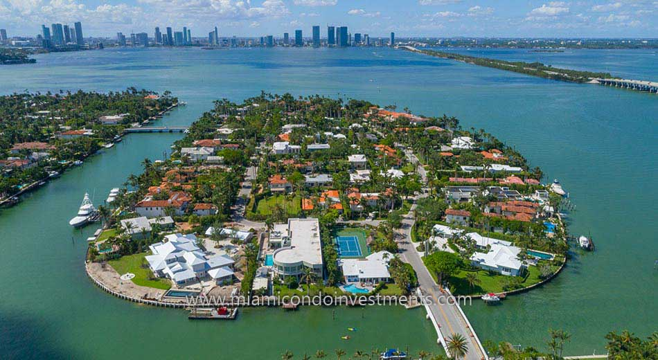 waterfront mansions on Sunset Islands in Miami Beach