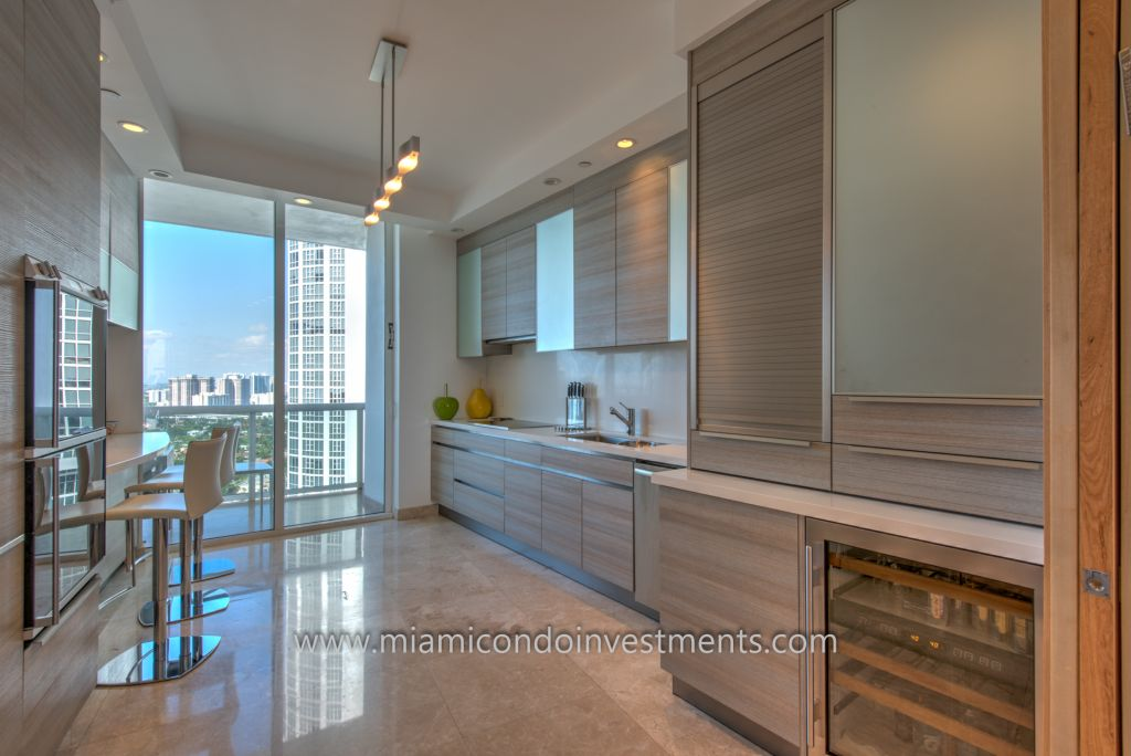 fully renovated kitchen at Trump Palace in Sunny Isles Beach