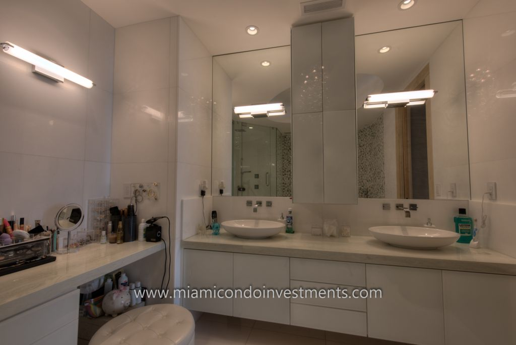 fully renovated master bathroom at Trump Palace in Sunny Isles Beach