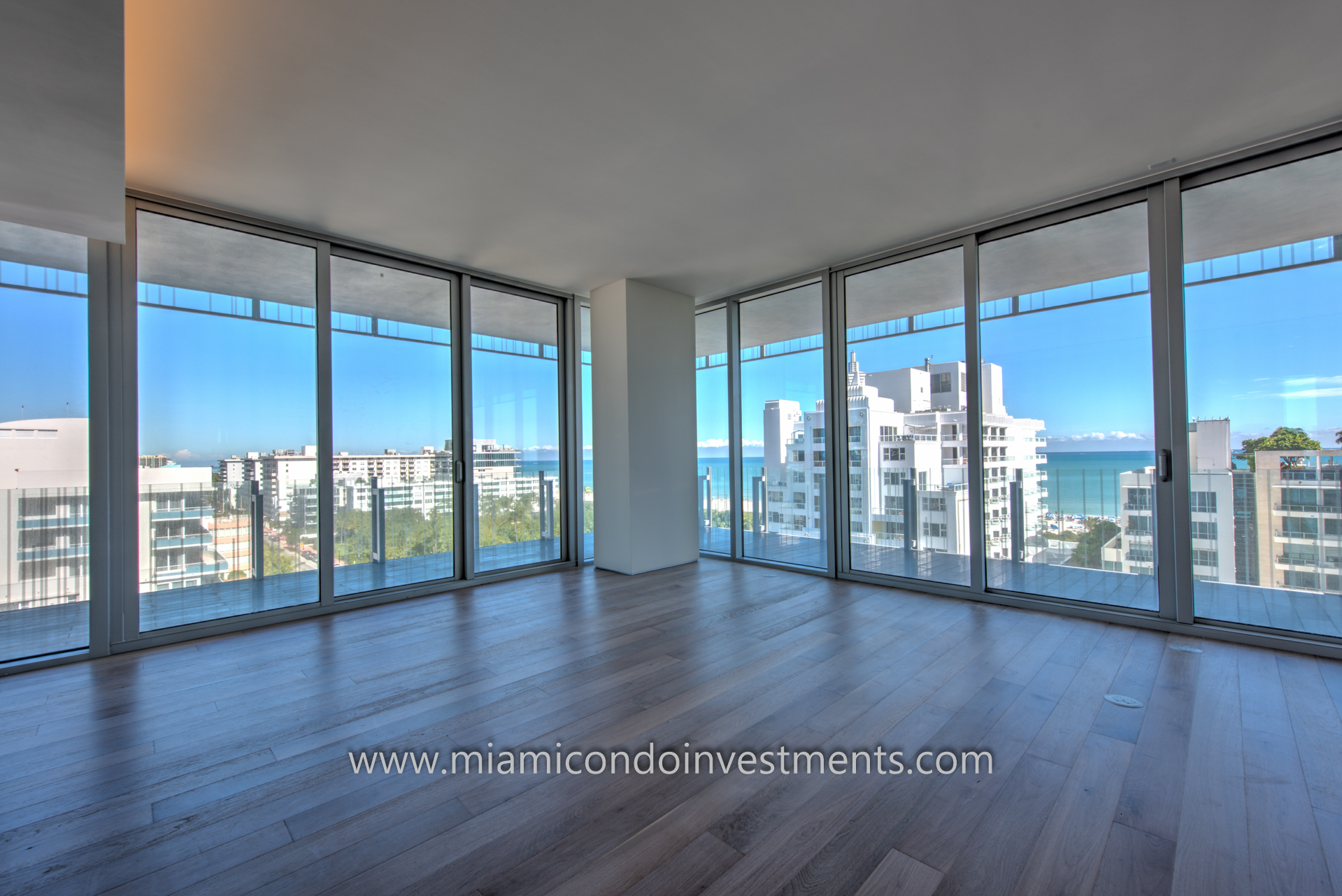 ocean and city views from residence 900 at GLASS in Miami Beach