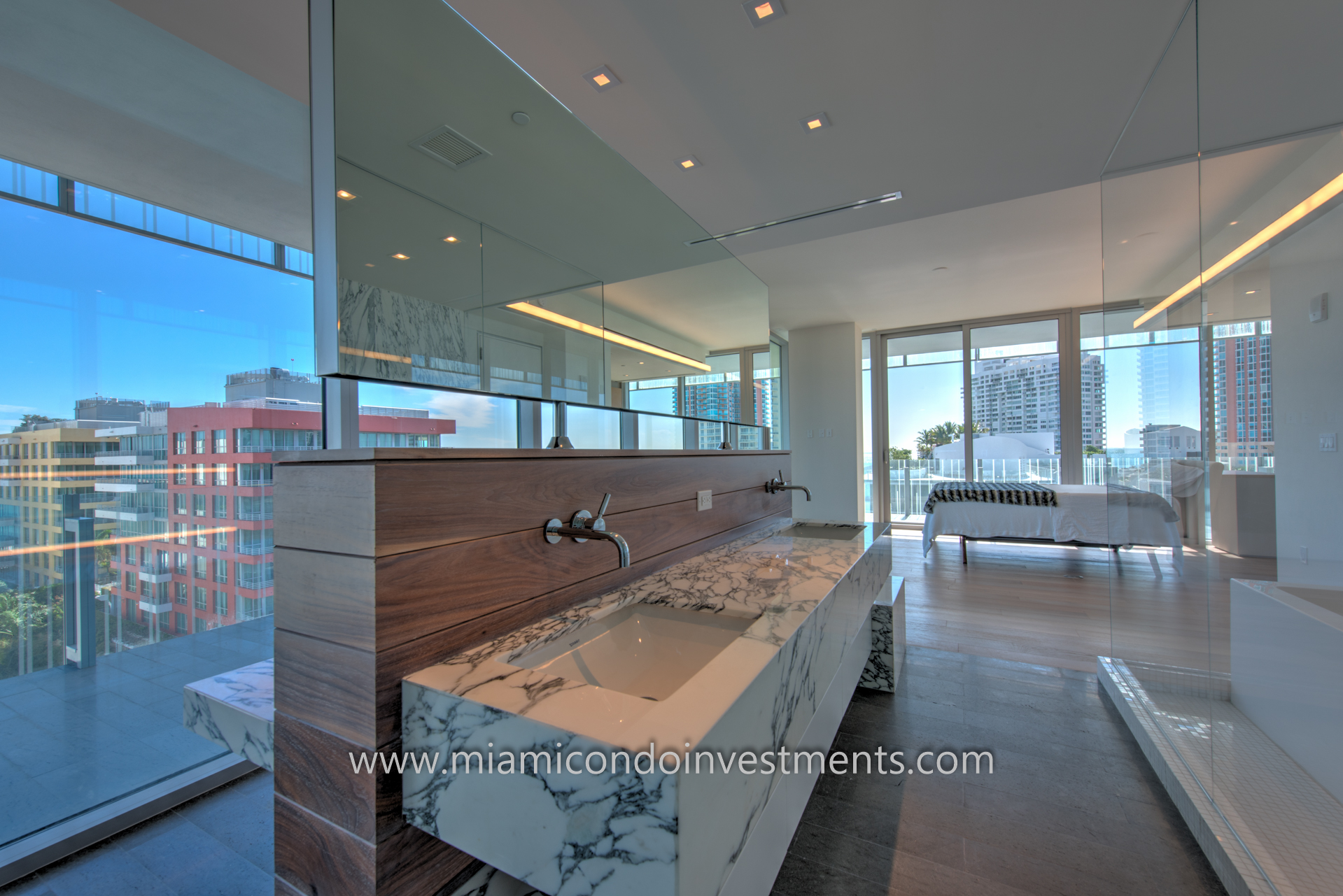 city and ocean views from master bath and bedroom