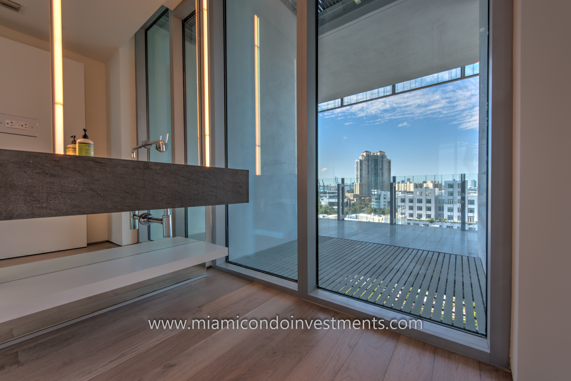 second bathroom with water and city views