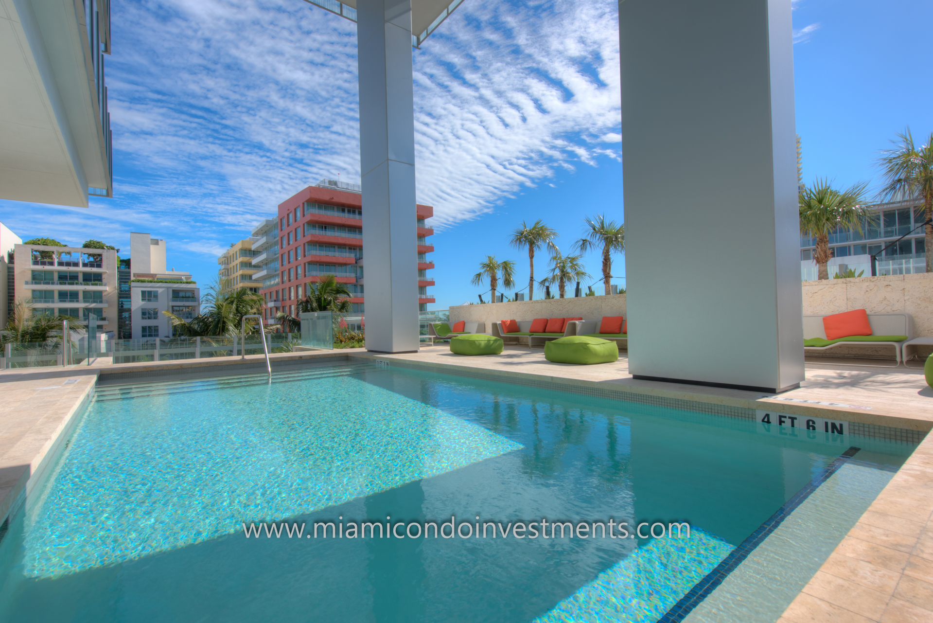 pool deck at GLASS in Miami Beach with landscape design by Raymond Jungles