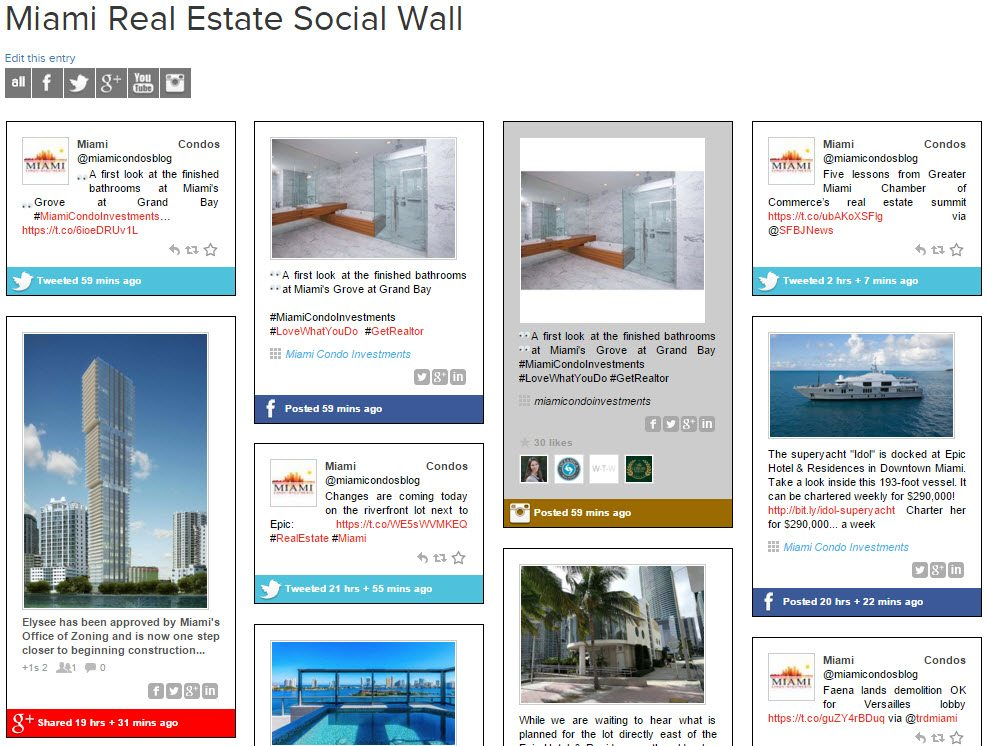 Miami Real Estate Social Wall