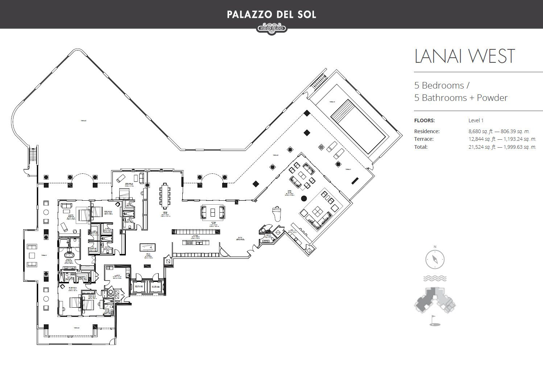 Palazzo Del Sol Lanai West floor plan